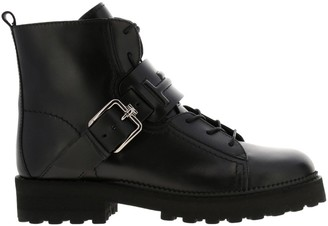 Tod's Laced Up Boots In Embossed Double T Leather