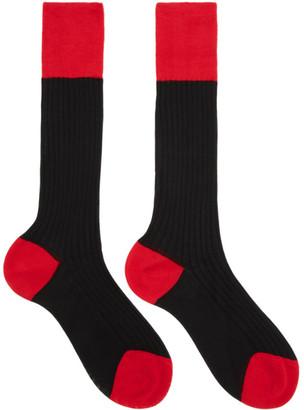 Prada Black and Red Bi-Color Socks