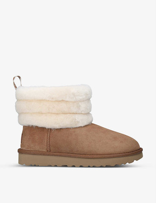 UGG Fluff Mini Quilted suede and sheepskin boots