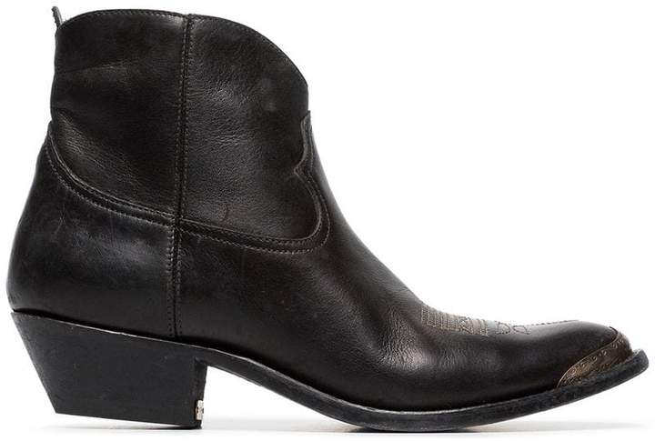 Golden Goose young leather cowboy ankle boots