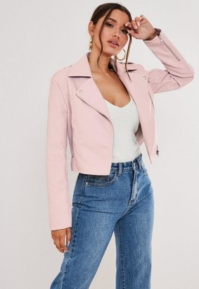 Missguided Petite Pink Faux Leather Boxy Biker Jacket