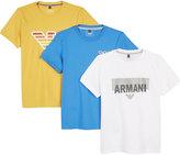 Armani Junior Logo Cotton T-shirts Pack Of Three 4-16 Years