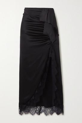 Vanessa Cocchiaro - The Aphra Lace-trimmed Draped Ruched Satin Midi Skirt - Black