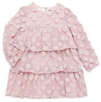 Imoga Little Girl's Girl's Heart Patch Ruffle Dress