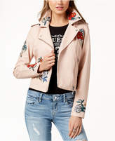 GUESS Embroidered Faux-Leather Biker Jacket