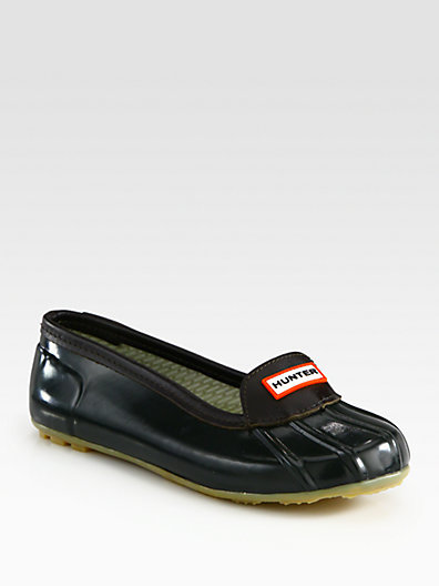 Hunter Rubber and Leather Flats