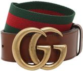 Gucci 40mm Gg Marmont Web & Leather Belt