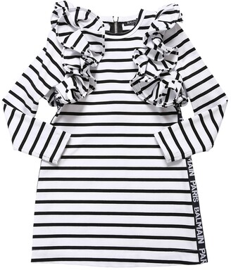 Balmain Striped Cotton Interlock Dress W/ Ruffle
