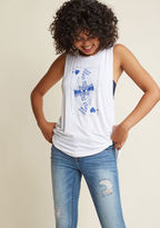 MDT1092A Play your cards right and the macabre Queen of Hearts reigning over this white tank top will rule your wardrobe 'til the end of time! A ModCloth exclusive starring a blue graphic and a comfy jersey knit, this top makes a winning style statement.