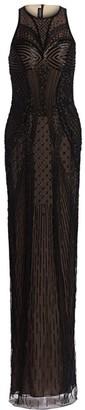 BURNETT NEW YORK Sleeveless Geometric Embroidered Gown
