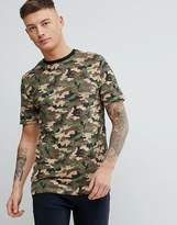 Pull&bear Map Print Crew Neck T-shirt In Camo