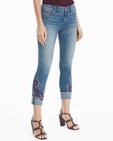 White House Black Market Embroidered Slim Crop Jeans