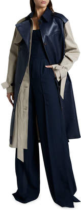 Rokh Leather Panel Long-Sleeve Collar Trench Coat