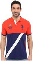 U.S. Polo Assn. Color Block Diagonal Stripe Pique Polo Shirt