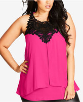 City Chic Trendy Plus Size Lace-Trim Layered Top