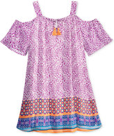 Sequin Hearts Printed Off-The-Shoulder Dress, Big Girls (7-16)