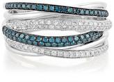Effy Jewelry Effy Bella Bleu 14K White Gold Blue and White Diamond Ring, 0.56 TCW