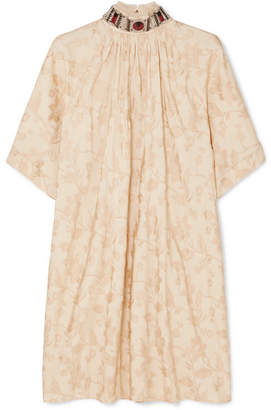 Chloé Embellished Jacquard Mini Dress - Beige