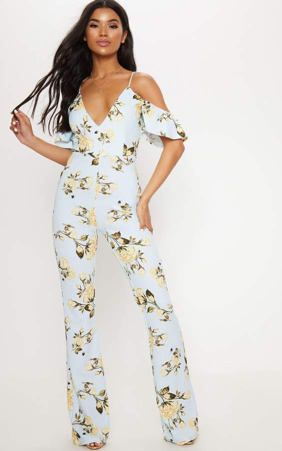 PrettyLittleThing Blue Floral Printed Cold Shoulder Jumpsuit