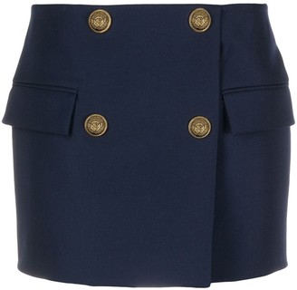 Balmain Embossed Button Mini Skirt