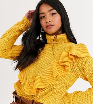 Glamorous Petite sweater with ruffle detail in chunky knit