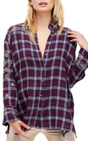 Free People Women's Downtown Romance Embellished Shirt