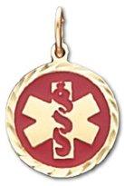 US Jewels And Gems 10k Yellow Gold Medical Alert ID Circle Pendant
