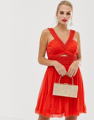 French Connection Fast Mazie cut out dress-Red