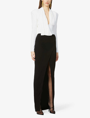 Balmain Ruched two-tone jersey gown