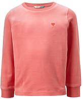 John Lewis Girls' Velour Sweatshirt, Mid Pink