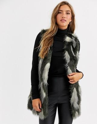 Urban Code Urbancode vest in textured faux fur-Multi