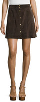 Frame Le Paneled Suede Mini Skirt, Chocolate Brown