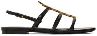 Saint Laurent Black Cassandra Sandals