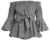 House of Holland Off-the-shoulder cotton-gingham top