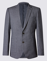 M&S Collection Blue Textured Tailored Fit Jacket