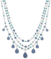 Nine West Silver-Tone Multi-Layer Stone & Crystal Statement Necklace