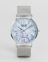 Reclaimed Vintage Inspired Marble Print Mesh Watch In Silver