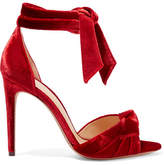 Alexandre Birman Jessica Bow-embellished Velvet Sandals