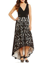Xscape Evenings V-Neck Embroidered Mesh Insert Hi-Lo Gown