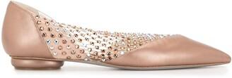 Rene Caovilla Crystal-Embellished Point-Toe Ballet Shoes