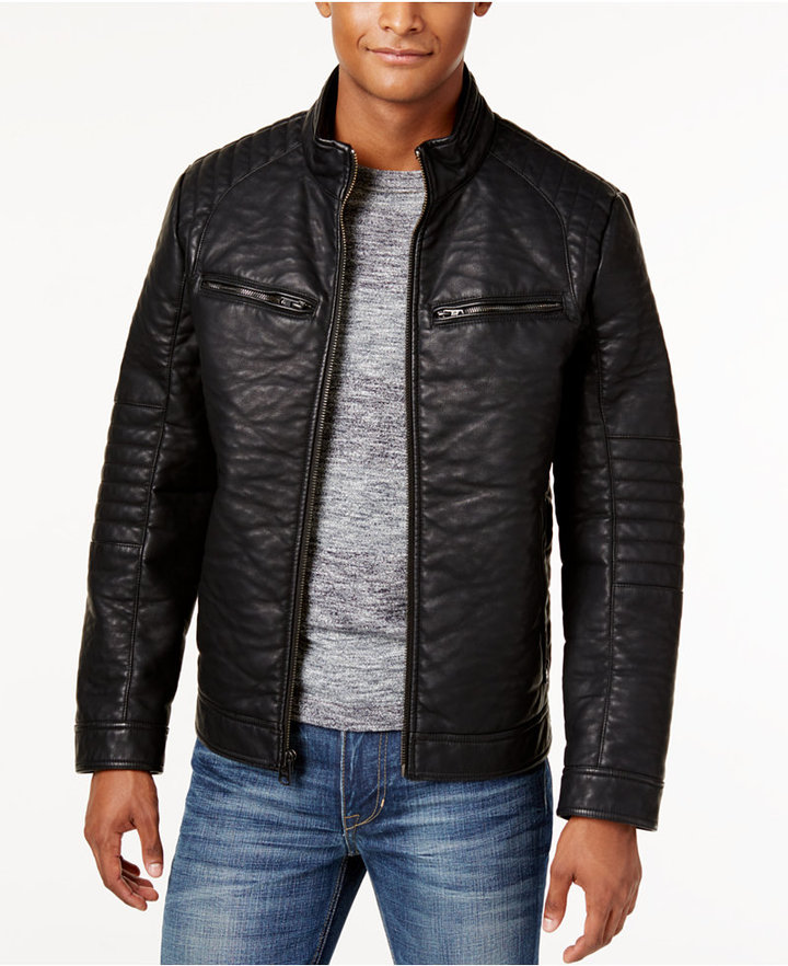 Buffalo David Bitton Men's Big & Tall Textured Faux-Leather Jacket