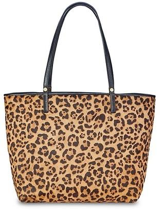 GiGi New York Tori Leopard-Print Fur Tote