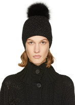 Yves Salomon Black and Gold Sparkle Fur Pom Pom Beanie