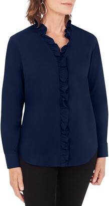 Foxcroft Gwen Stretch Ruffle Button-Up Shirt