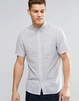 Asos Shirt With Blue Vertical Stripe In Short Sleeve In Regular Fit