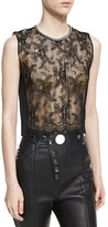 Alexander Wang Pleated Lace Top with Chain Trim