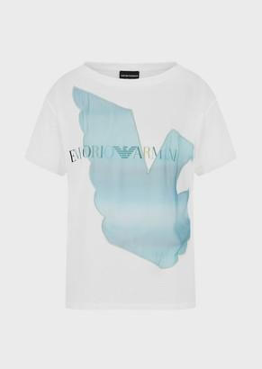 Emporio Armani Jersey T-Shirt With Oversized Chiffon Eagle