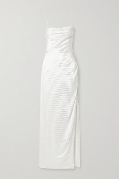 Thumbnail for your product : retrofete Marlene Crystal-embellished Draped Silk-satin Maxi Dress - White