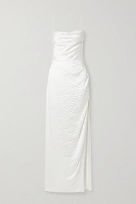 retrofete Marlene Crystal-embellished Draped Silk-satin Maxi Dress - White