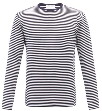Sunspel Breton-striped Cotton-jersey Long-sleeved T-shirt - Navy White